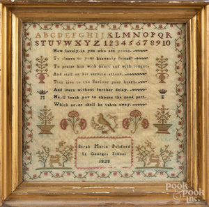 English silk on linen sampler dated 1828