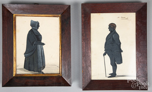 Two watercolor silhouettes of a man and woman