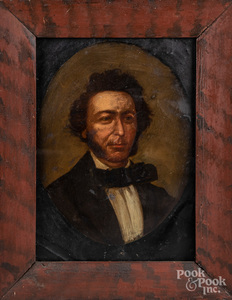 Oil on tin portrait of a gentleman, 19th c.