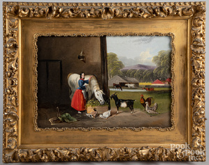 English oil on canvas stable scene, late 19th c.