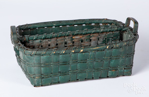 Green painted basket, 19th c.