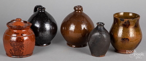 Five pieces of American redware, 19th c.