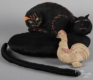 Two black cat cushions, etc.