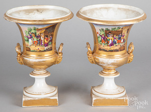 Pair of Paris porcelain urns, 19th c.