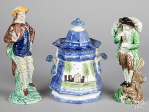 Pair of English pearlware figures, etc.