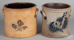 Two cobalt decorated stoneware crocks, 19th c.