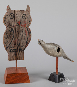 Painted owl plaque, early 20th c.