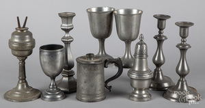 Group of pewter, 19th c.