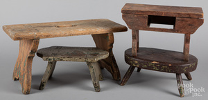 Four wooden foot stools, 19th c.