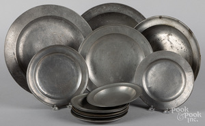 English pewter chargers, deep dishes, and plates