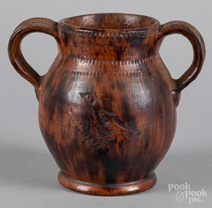 Jacob Medinger two handled redware crock