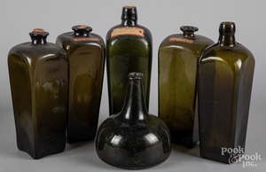Blown squat bottle, 18th c., etc.