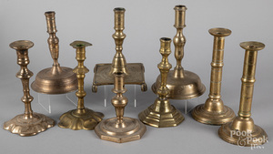 Collection of brass candlesticks, 18th/19th c.