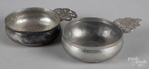 Two pewter porringers, 19th c.