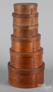 Six bentwood pantry boxes, ca. 1900