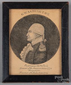 Engraved profile portrait of George Washington