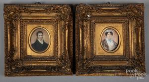 Pair of miniature watercolor portraits