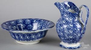 Blue spongeware pitcher and basin