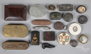 Collection of continental snuff and patch boxes