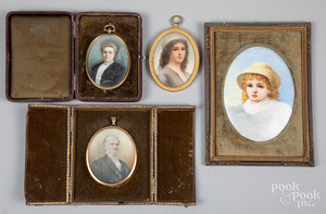 Two miniature watercolor portraits, ca. 1900, etc