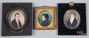 Three miniature watercolor portraits