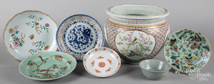 Six Chinese porcelain dishes, etc.