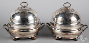 Sheffield silver plate covered warming dishes