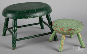 Two painted pine footstools, 19th c.