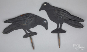 Pair of painted sheet iron crow garden ornaments
