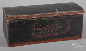 New England painted pine dome top box, 19th c.