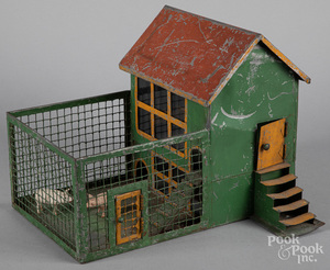 Painted tin toy pig pen/chicken coop, 19th c.