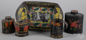 Five pieces of Pennsylvania toleware, 19th c.