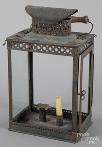 Unusual painted tin lantern, 19th c.