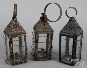 Three tin and glass carry lanterns, 19th c.
