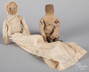 Two early cloth dolls, 19th c.