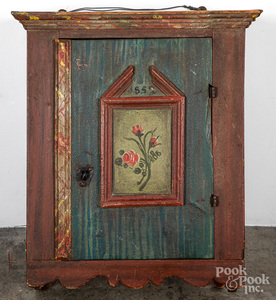 Scandinavian painted pine hanging cupboard