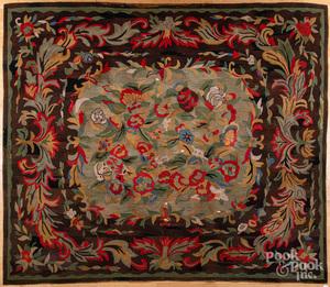 Room size floral hooked rug
