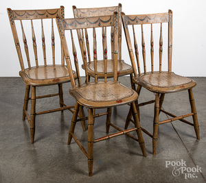 Set of four painted Windsor chairs, ca. 1830