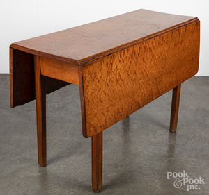 New England bird's-eye maple drop leaf table