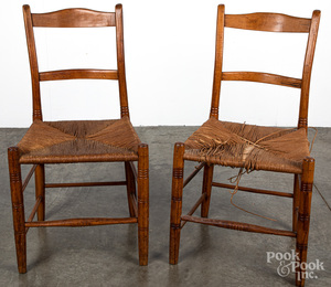 Pair of rush seat chairs, 19th c., etc.