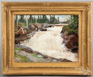 Richard Evett Bishop oil on board river landscape