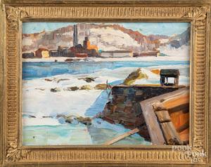 Richard Evett Bishop oil on board winter landscap