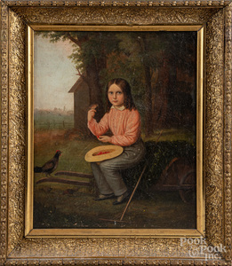 Oil on canvas portrait of boy with a bird, 19th c