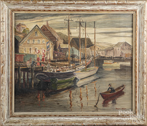 Maxwell Heller oil on canvas harbor scene