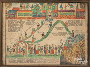 Printed and hand colored heaven and hell fraktur