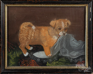 Pastel puppy with blanket, late 19th c.