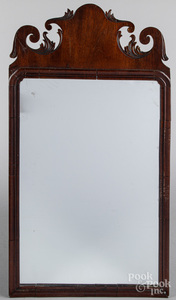 Queen Anne mahogany veneer looking glass, 18th c.