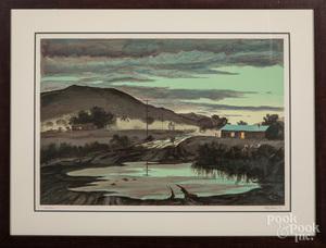 Peter Hurd signed lithograph landscape