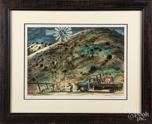 Peter Hurd signed lithograph