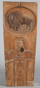 Native American theme relief carved board